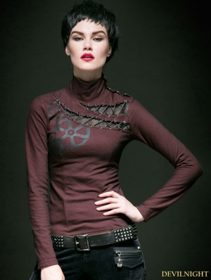 Red and Black Gothic Steampunk Women Long T-shirt