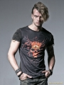 Black Gothic Male Short T-shirt with Skull Digital Printing