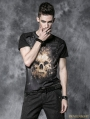 Black Gothic Men Short Tee with Digital Printing and Wash By Old Way