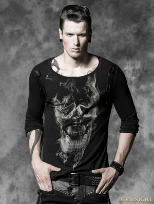 Men Gothic Long T-shirt with Yellow and Black Smoke Skull Printing