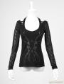 Black Gothic Female Stereoscopic Branch Printing T-shirt