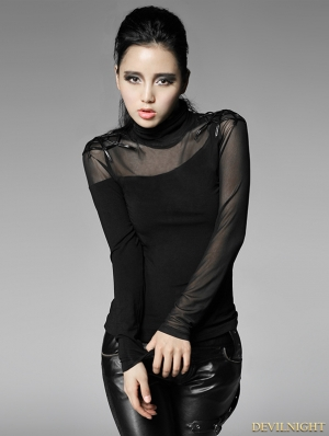 Women Black Gothic Bottoming Shirt with Spider Web On Shoulder
