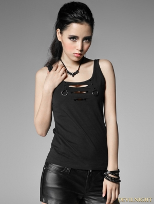 Black Gothic Punk Vest with Broken-hole For Women