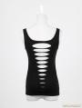 Black Gothic Punk Vest with Broken-hole For Women