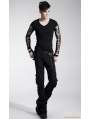 Black Gothic Punk Burn-out Knitted Long T-shirt For Men