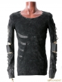 Black Gothic Printing Long Sleeves Splicing Style T-shirt For Men