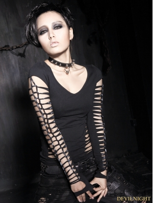 Black Gothic Hollow Long Sleeves T-shirt For Women