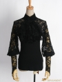 Black Gothic Punk All-match Lace T-shirt with Gloves For Women