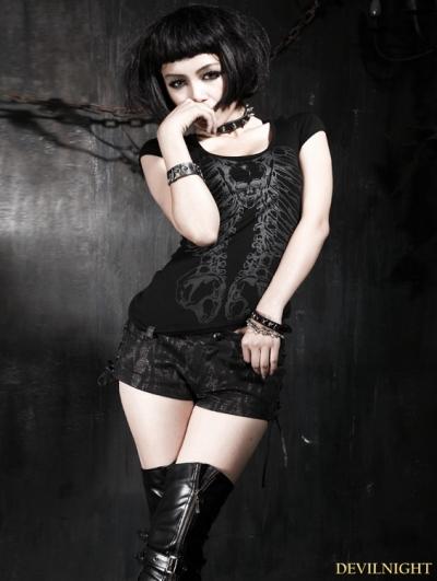 Black Gothic Punk Skeleon Pattern T-shirt For Women