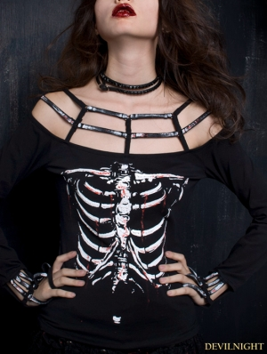 Black Gothic Punk Printing Long Sleeves Off-shoulder T-shirt For Women