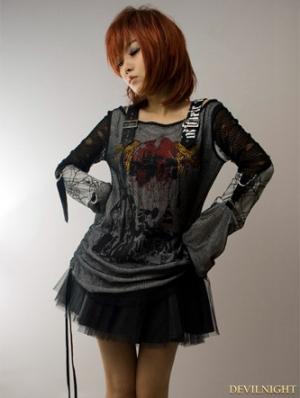 Black-White Gothic Punk Off-Shoulder T-shirt For Women