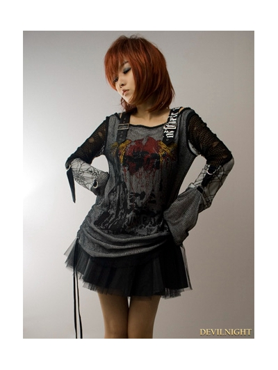 Black-White Gothic Punk Off-Shoulder T-shirt For Women