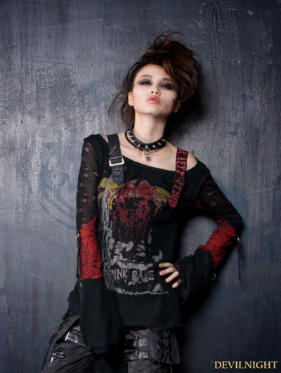 Black-red Gothic Punk Off-shoulder T-shirt For Women