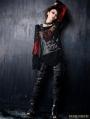 Black-red Gothic Punk Off-shoulder T-shirt For Women