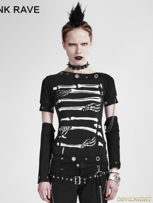 Black Gothic Punk Cool Summer T-shirt For Women