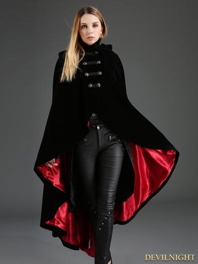 Black Gothic Female Velvet Long Hoodie Coat