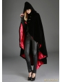 Black Gothic Female Woolen Long Hoodie Coat