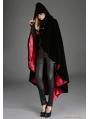 Black Gothic Female Woolen Long Hoodie Coat