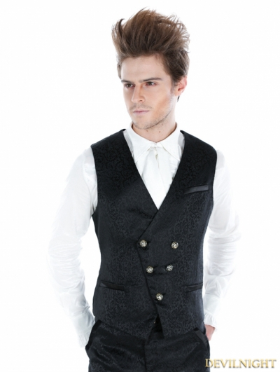 Black Gothic Palace Style Vest For Men