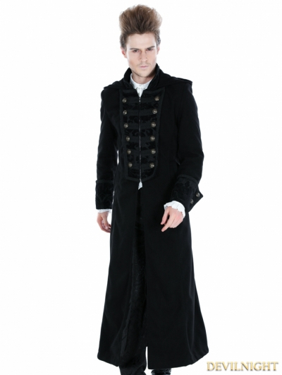 Black Gothic Male Palace Style Overlength Hoodie Coat