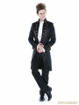 Black Gothic Palace Style Mens Long Jacket with Coffee Hem