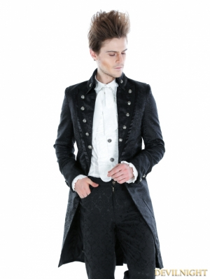 Black Gothic Palace Style Long Jacket For Men