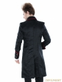 Black Gothic Palace Style Mens Long Jacket with Red Hem