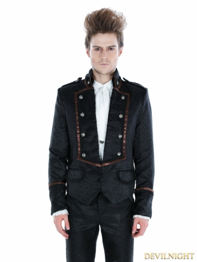 Black Gothic Palace Style Mens Short Jacket with Coffee Hem