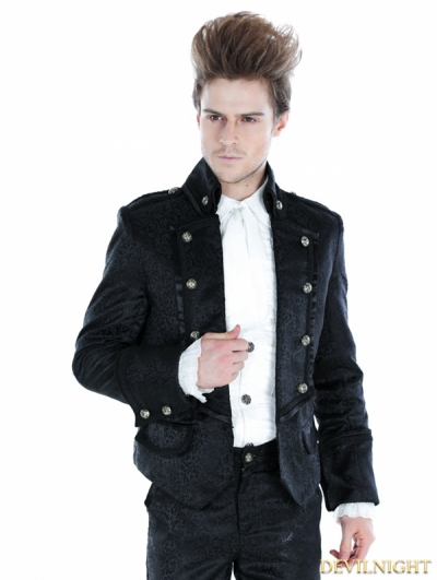 Black Gothic Palace Style Mens Short Jacket