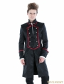 Black Gothic Military Style Male Long Coat with Red Hem