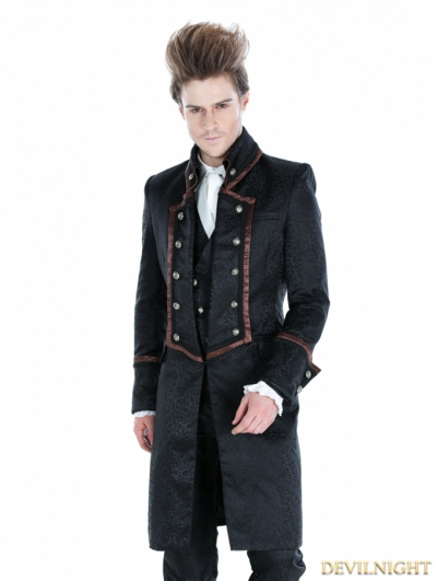 Black Gothic Military Style Male Long Coat with Coffee Hem