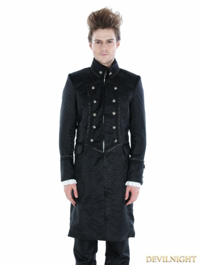 Black Gothic Military Style Male Long Coat