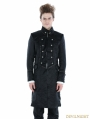 Black Gothic Military Style Male Long Coat