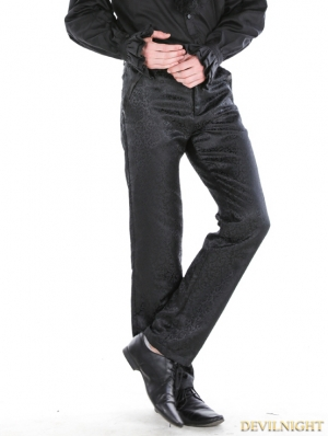 Black Gothic Printing Palace Style Pants For Men