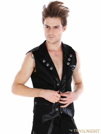 Black Gothic Military Style Vest For Men