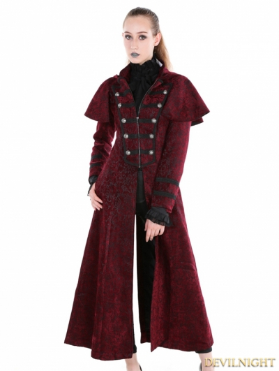 Red Gothic Military Style Long Hoodie Cape Coat For Women