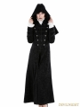 Black Gothic Military Style Long Hoodie Cape Coat For Women