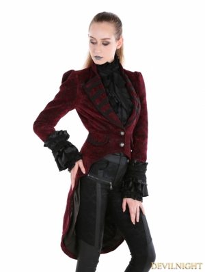 Red Gothic Palace Style Velvet Coat For Women