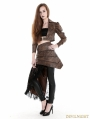 Coffee Steampunk PU Skirt with Lace Side