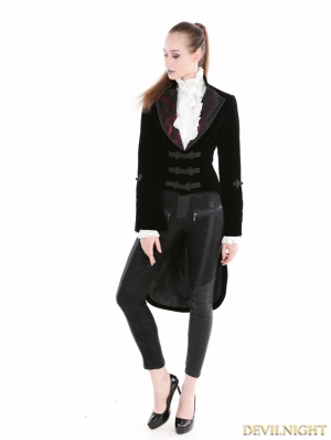 Black Gothic Velvet Vintage Coat For Women