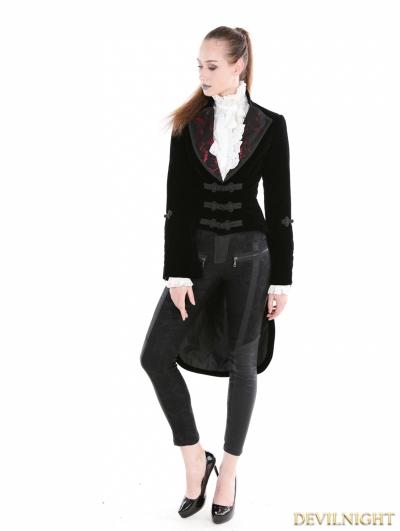 Black Gothic Velvet Vintage Coat For Women