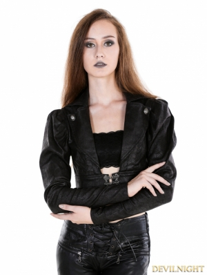 Black Gothic Midriff Top For Women