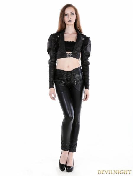 Black Gothic Midriff Top For Women Devilnight Co Uk
