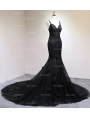 Black Gothic Beading Mermaid Gorgeous Wedding Dress