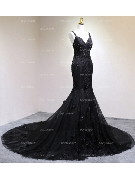 Black gothic beading mermaid gorgeous wedding dress for Black mermaid wedding dresses