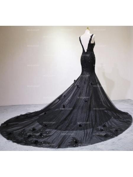 Black Gothic Beading Mermaid Gorgeous Wedding Dress