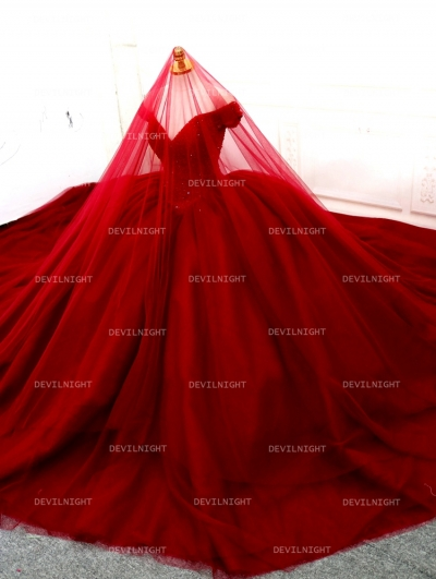 Red Beading Off-the-Shoulder Ball Gown Gothic Wedding Dress