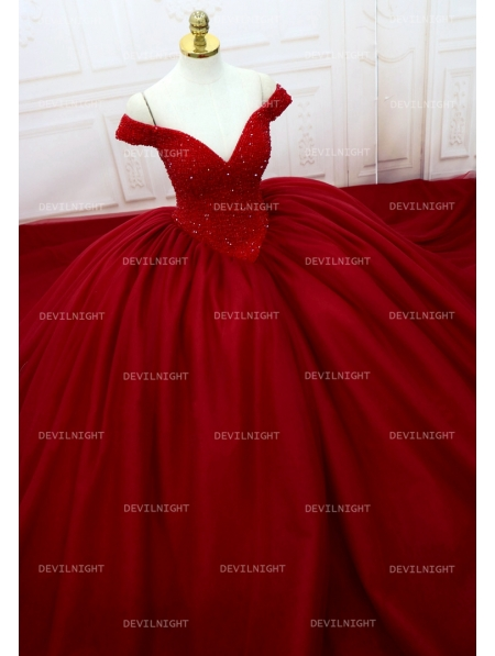 Red Beading Off The Shoulder Ball Gown Gothic Wedding