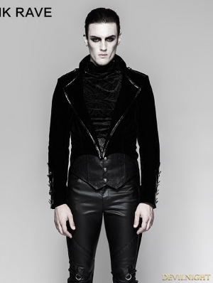 Black Gothic Military Uniform Gorgeous Swallow-tail Jacket for Men