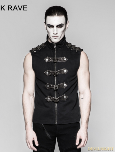 Black Gothic Punk Armour Sleeveless Shirt for Men